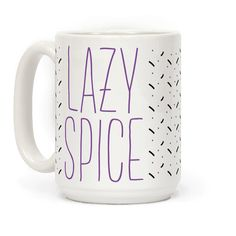 """Lazy Spice Girl - So I'll tell you what I want what I really, really want! It's a nap. Show that you and your squad are modern day spice girls with these cute, funny parody mugs. This coffee mug features the phrase """"Lazy Spice"""" in a thin pastel purple font."""