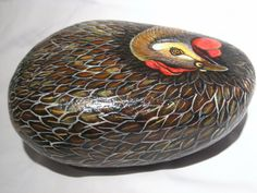 Painted rock/ Hen Stone / Fine Rock Art / Farm by MeloArtGallery, you can do this, might sell?
