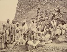 THE BRAVE PATHAN  Photograph of Afghan chiefs & a British Political Officer posed at Jamrud fort at the mouth of the Khyber Pass 1878.  Peshawar Valley Field Force during the two-year campaign  in the hostile environment of Afghanistan and the North West Frontier Province (Pakistan), the scene of the military operations.