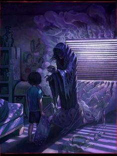 "beyondtheconfinesofsanity: "" Dark Room by Ryan Cordin "" Arte Horror, Horror Art, Dark Fantasy Art, Dark Art, Creepy Art, Scary, Satan, Monster Bedroom, Monster Under The Bed"