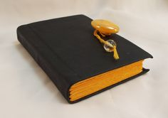 Dark Green Leather Bound Pocket journal with Yellow pages by SolitaireDesigns on Etsy