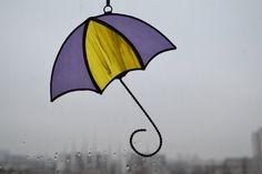 Stained Glass Umbrella Suncatcher yellow gold grape by ZangerGlass
