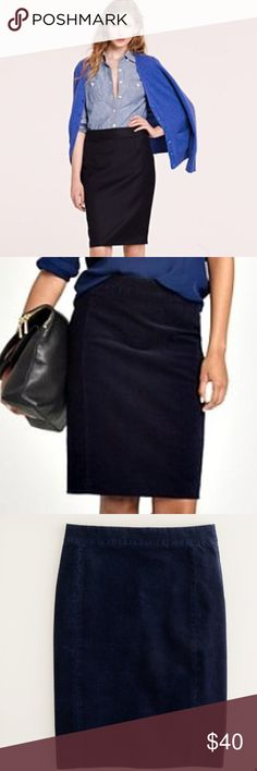 "💫 J. Crew No. 2 Navy Corduroy Pencil Skirt Perfect for winter! Thin welts pencil skirt with 1 1/4"" waistband with center back zipper and kick pleat. Unlined.  98% Cotton  3% Spandex  Machine Washable   32"" waist  39"" hips  36"" sweep  22""overall length   #TH1001016 J. Crew Skirts Pencil"