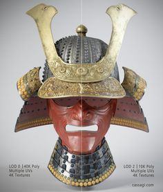 Japan samurai helmet game asset LODs by Cassagi