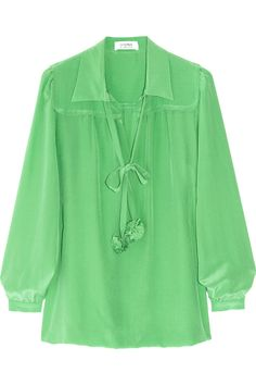 Sonia by Sonia Rykiel Pompom-detailed silk crepe de chine blouse $435