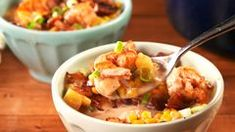 Best Shrimp 'n' Bacon Chowder Recipe-How To Make Shrimp 'n' Bacon Chowder—Delish.com Bacon Chowder Recipe, Chowder Recipes, Seafood Recipes, Shrimp Corn Chowder, Baby Food Recipes, Cooking Recipes, Low Carb Meal Plan, Parmesan Recipes, Creole Recipes