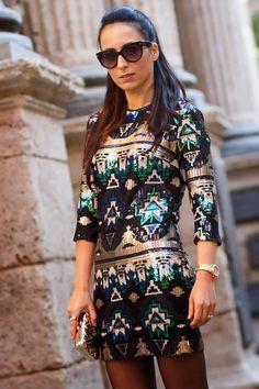 #Aztec #Sequined #Mini #Dress
