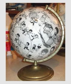 Children's illustrations globe redo.  It's your favorite storybook!  (Oh what A Busy Day, by Gyo Fujikawa (1908-1999).)