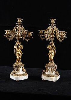 Pair of French Antique Gilt Bronze Putti and White Marble 6-light Candelabra - France   c.1890