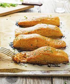 3-Ingredient Brown Sugar and Mustard Glazed Salmon