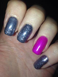 Gunmetal glitter with bright pink nail