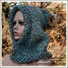 * one of a kind cozy and warm * one size fits all * staying warm was never this fashionable * acrylic * Hand Knitted One Size Fits All, Scarfs, Hand Knitting, Knitted Hats, Hoods, Teal, Cozy, Warm, Crochet