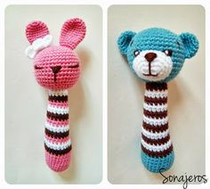 Amigurumi Rattle Construction - Just DIY Crochet Baby Toys, Crochet Amigurumi, Crochet Toys Patterns, Crochet Gifts, Amigurumi Doll, Amigurumi Patterns, Crochet Animals, Stuffed Toys Patterns, Crochet Dolls