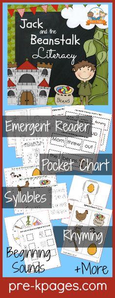 Printable Literacy Activities for Jack and the Beanstalk Theme in Preschool or Kindergarten