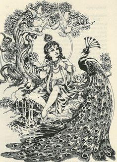 Lord Krishna and the Peacock