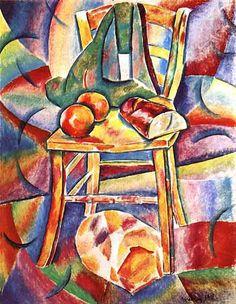 Vladimir baranoff rossine . Nature morte à la chaise 1911 pH.courtesy galerie brusberg, Berlin