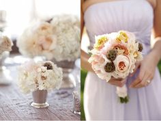 bridesmaids bouquets, minus the little brown pods and yellow flowers