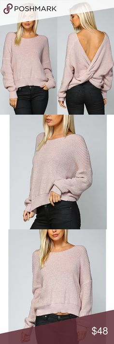 🚨SOLD🚨HILDEE Round Neck Ribbed Sweater - MAUVE Round Neck Ribbed Sweater.   Fabric 80% ACRYLIC 20% COTTON  🚨🚨NO TRADE, PRICE FIRM🚨🚨 Bellanblue Tops Tees - Long Sleeve