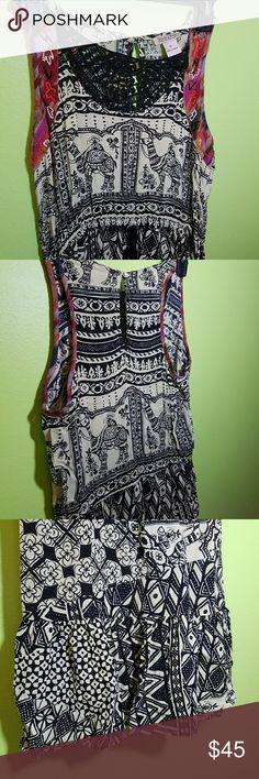Lucky Brand Maxi Dress Lucky Brand Maxi Dress Black And Beige Crochet Camel Print Sleeveless Size M comfortable fresh summer dress, with a beautiful drawstring waist and a ruffle end. Lucky Brand Dresses Maxi