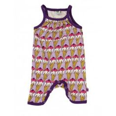 Hippe paarse summersuit met ijsjes van het Deense merk Smafolk.   De jumpsuits van Smafolk zijn gemaakt van 100% katoen.