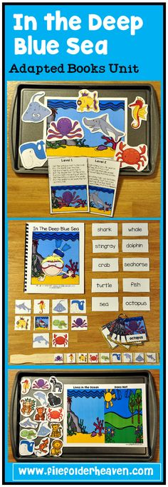 """""""Way, way down, in the deep blue sea...   a wiggly little octopus, was as wiggly as can be!   He wiggled by a seahorse.   And he wiggled by a fish.   He wiggled by a crab,   with a """"wiggle-wiggle-swish!""""  This unit has just been UPDATED!!!  (1/2016)  In addition to all of the above activities, this unit now includes an updated adapted book and 4 new vocabulary extension activities that focus on sequencing, classification, labeling, and positional concepts!"""