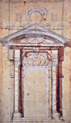 MICHELANGELO Buonarroti - Study for Porta Pia, c. 1560, Black pencil, pen and brown watercolour, on brown paper, 470 x 280 mm, Casa Buonarroti, Florence