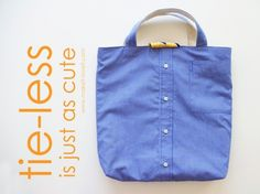 Turn a Men's Shirt/Tie into a Tote (aka: little boy church bag). Example of Square Bottom Tote Shirt Refashion, Diy Shirt, Clothes Refashion, Diy Camisa, Mens Shirt And Tie, Diy Sac, Old Shirts, Old Clothes, Bag Making