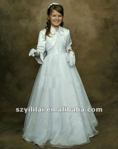 MF018 long sleeves white little queen with jacket Flower Girl Dresses