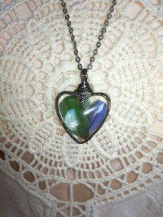 Pendants – Necklace, Pendant, heart, feathers parrots – a unique product by…
