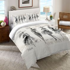 Make a fashionable statement in your bedroom with this beautiful mixed media design by Anne Tavoletti! Watercolor figures and details are placed over fashion newspaper clippings in this unique art pie