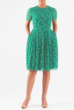 Polka dot print georgette dress #eShakti
