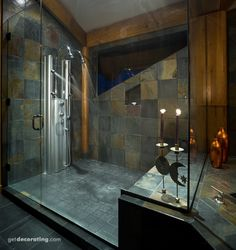 Lovely walk-in shower - Room to definitely move around in. Love the shower heads too!