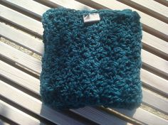 Large size crocheted alpaca and wool blanket in a beautiful dark teal color. Perfect for those snoozing moment for cold evenings on the couch. About