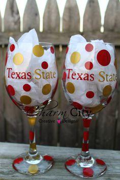Texas State Wine Glasses 20 oz on Etsy, $12.00