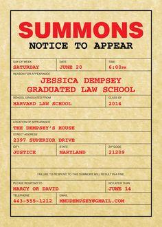 Graduation Law School Subpoena Invitation