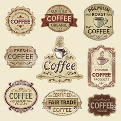 Hand Drawn Vintage Coffee Labels royalty-free hand drawn vintage coffee labels stock vector art & more images of badge Café Vintage, Vintage Labels, Vintage Images, Vintage Ephemera, Etiquette Vintage, Fair Trade Coffee, Free Hand Drawing, Decoupage Paper, Printable Labels