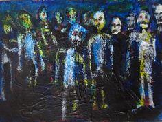 "SET OF THREE.  Zombie Art Cards , original painting    jack larson 3.5""x2.5""  #Abstract"