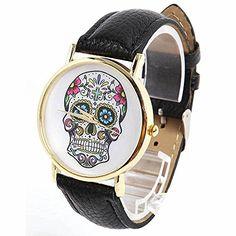 DAYAN Damenmode Sport Watch Genf Schädel Gold-Leder Analog Quarz-Armbanduhr Farbe Schwarz - http://uhr.haus/dayan/dayan-damenmode-sport-watch-genf-schaedel-gold-7