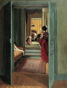 Félix Valloton / Intérieur avec femme en rouge de dos, 1903.