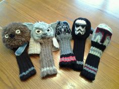 "My efforts knitting for ""Caddyshack Creative.""  A Tribute to Star Wars...a Force on the Golf Course.  ""Caddyshack Creative""    Head Covers and Golf Head Racks by Morgan and Lori.  See ravelry.com Lorisav or visit Ferns GC in Markdale, ON."