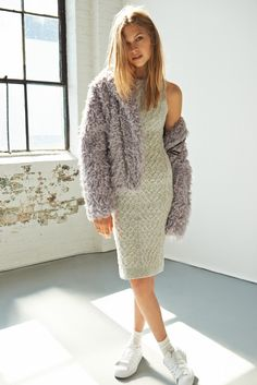 A Cozy -KNITZ By For Love & Lemons Snowday Bodycon Dress and UNIF X UO Poodle Moto Coat