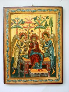Mother of God in heaven with the Archangels, Romanian Byzantine Icon.