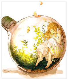 grafika anime and art - Anime Chibi Manga, Manga Anime, Art Manga, Art Anime Fille, Anime Art Girl, Anime Girls, Photo Manga, Bottle Drawing, Art Mignon