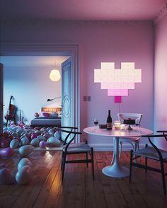Apartment Living, Austin Apartment, Apartment Goals, Nanoleaf Designs, Bedroom Ideas For Couples Modern, Nanoleaf Lights, Smart Kit, Kit Homes, Home Lighting