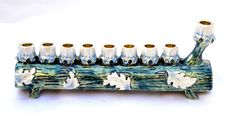 Enameled Jeweled Menorah Chanukah Hanukkah JUDAICA israel Blue color Length-6.5""