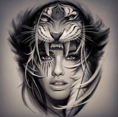 Image result for woman with wolf headdress tattoo