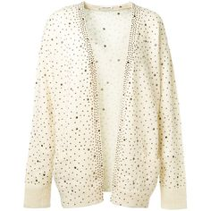 Saint Laurent Sequins Embroidered Ivory Mohair Cardigan (19888455 PYG) ❤ liked on Polyvore featuring tops, cardigans, sequin cardigans, long sleeve tops, ribbed top, white long sleeve cardigan and white embroidered top