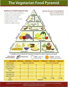 The Vegetarian Food Pyramid (Courtesy of Loma Linda University Department of Nutrition)