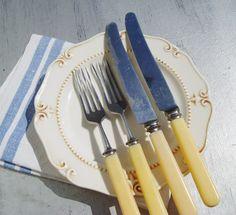 Bakelite Cutlery Set Vintage USSR Set of 4 Yellow by MerilinsRetro, $16.00