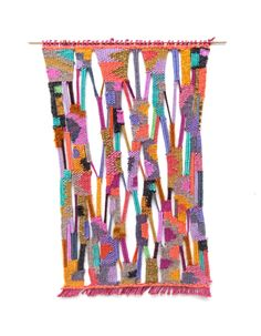 """Woven and wrapped wall hanging with a brass dowel. Handmade in Brooklyn, NY.  Wool and Cotton 13"""" x 8"""""""